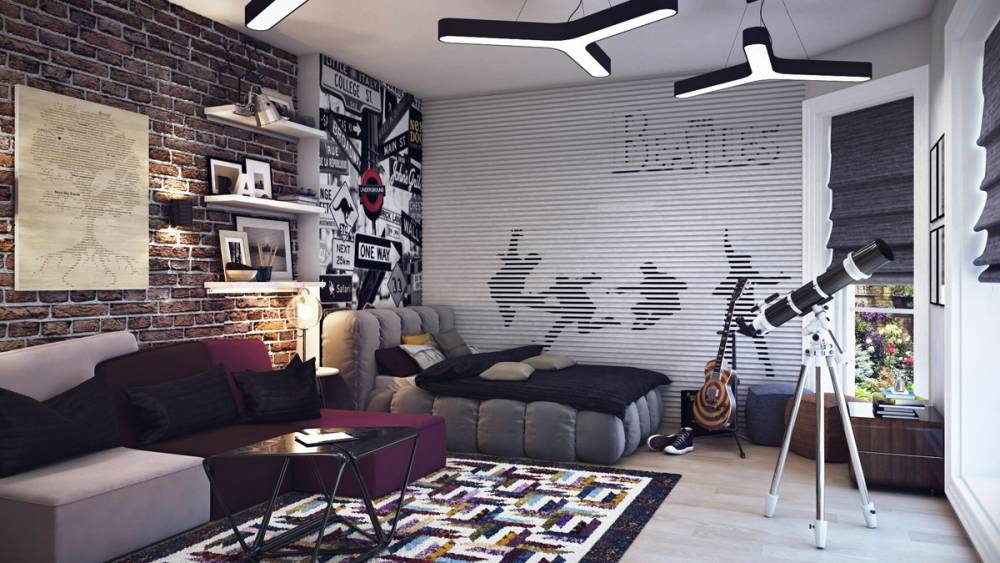 3-Teenage-boys-room-Beatles-theme